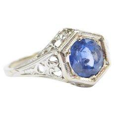 Art Deco 1.05 Carat Natural Ceylon Sapphire Filigree 14k Gold Ring