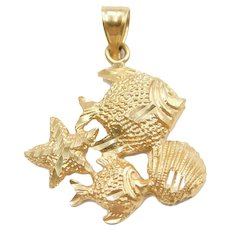 14k Gold Nautical Fish, Shell and Starfish Charm