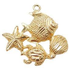 14k Gold Nautical Sea Life Charm ~ Fish, Starfish, Shell and Turtle
