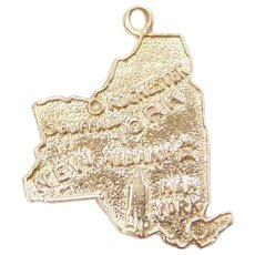 14k Gold State of New York Charm