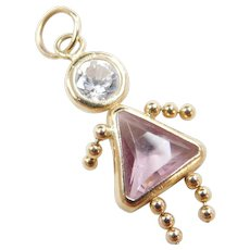 adc6a4377 Vintage 14k Gold October Girl Birthstone Charm ~ Faux Pink Tourmaline and  Faux Diamond. Arnold Jewelers