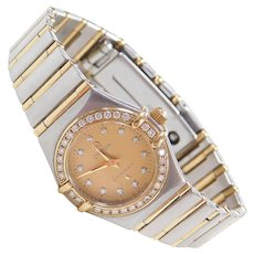 18k Gold and Stainless Steel OMEGA Ladies Watch with Diamond Dial and Bezel