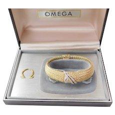 Ladies 14k Gold Omega Dress Watch Peekaboo Bracelet Style with Diamonds