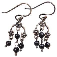 Sterling Silver Onyx Bead Flower Earrings