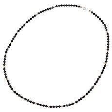 """17 1/2"""" 14k Gold Faceted Black Onyx Bead Necklace"""