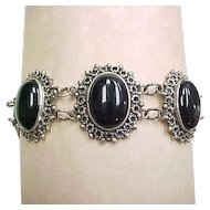 Vintage Sterling Silver Onyx Bracelet circa 1970's