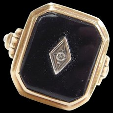 Vintage 14k Gold Onyx and Diamond Ring ~ Two-Tone