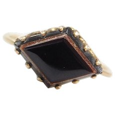 Victorian 10k Gold Onyx and Goldstone Ring ~ Converted Stick Pin