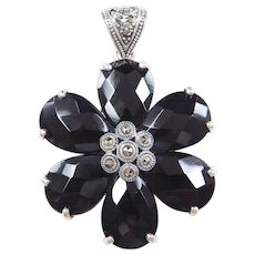 Sterling Silver Onyx and Marcasite Flower Pendant
