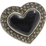 Big  Sterling Silver Onyx and Marcasite Heart Ring