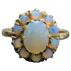1.65 ctw Opal Halo Ring 14k Gold