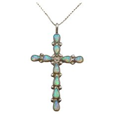 "20"" Sterling Silver Opal Cross Necklace"