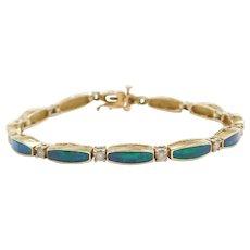 "7"" 14k Gold Created Opal Inlay and Diamond Bracelet"