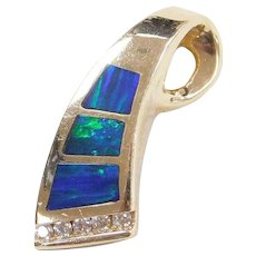 Vintage 14k Gold Opal Inlay and Diamond Pendant