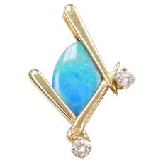 14k Gold Geometric Opal and Diamond Pendant