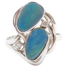 Vintage 14k White Gold Opal Doublet and Diamond Ring