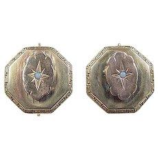 Victorian 14k Gold Opal Earrings