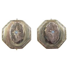 Victorian 14k Gold Opal Earrings