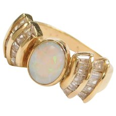 Vintage 14k Gold .95 Carat Opal and Faux Diamond Ring