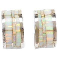 Sterling Silver Opal Inlay Hoop Earrings