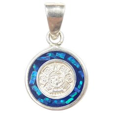 Sterling Silver Blue and Green Opal Inlay Mayan Calendar Charm / Pendant