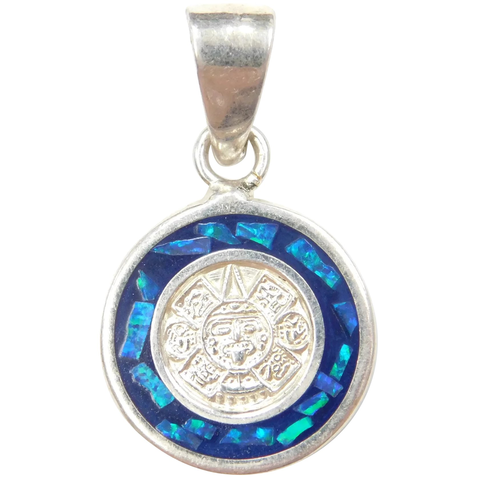 Details about  /Seahorse Pendant .925 Sterling Silver Blue Green Opal Inlay