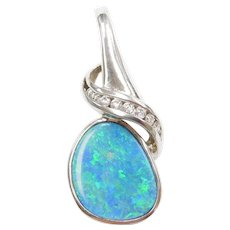 14k White Gold Natural Opal and Diamond Pendant
