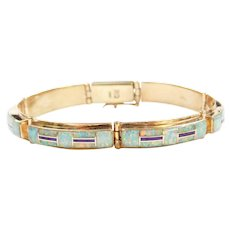 14k Gold Opal and Purple Turquoise Inlay Bracelet ~ 7""