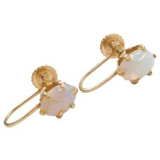 14k Gold Opal Screw Back Earrings