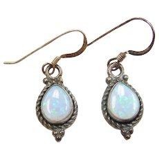 Sterling Silver Opal Teardrop Earrings