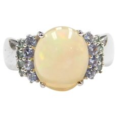 Sterling Silver 3 Carat Opal, Blue Glass and Green Topaz Ring