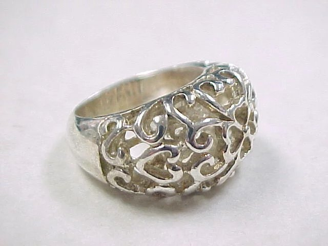 Vintage Sterling Silver Open Flower Dome Ring Arnold