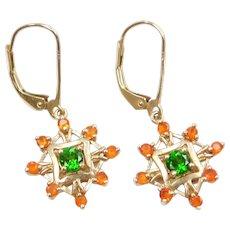 10k Gold Orange Garnet and Green Quartz Dangle Lever Back Earrings