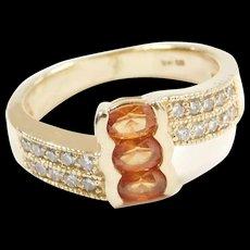 Vintage 14k Gold 1.00 ctw Orange Sapphire and Diamond Bypass Ring