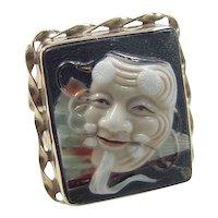 Vintage 14k Gold Oriental Mask and Fan Ring