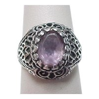Vintage Sterling Silver Ornate Amethyst Dome Ring