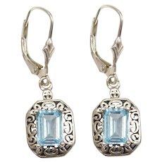 Sterling Silver Ornate Blue Topaz Lever Back Earrings