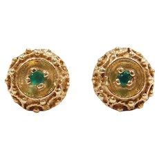 14k Gold Ornate Emerald Stud Earrings
