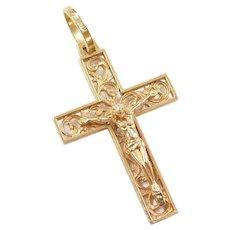 14k Gold Ornate Floral Crucifix Cross Pendant
