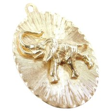 14k Gold Oval Disk with Lucky Elephant