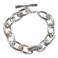 Vintage Sterling Silver Oval Link Bracelet
