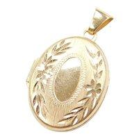 14k Gold Oval Floral Etched Locket Pendant