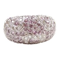 Pink Sapphire and Diamond 2.91 ctw Domed Fashion Ring with Heart Accents 18k White Gold