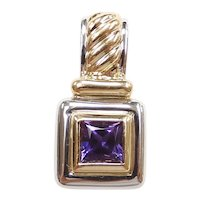 Amethyst .65 Carat Pendant 14k Yellow and White Gold Two-Tone