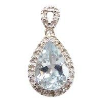 Aquamarine and Diamond 1.98 ctw Pendant 14k White Gold