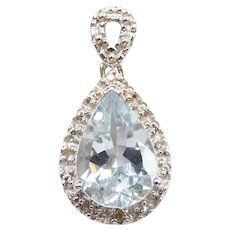 Aquamarine and Diamond 1.98 ctw Pendant 14k White Gold