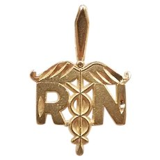 Registered Nurse RN Charm / Pendant 14k Yellow Gold