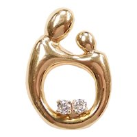 Diamond .16 ctw Mother and Child / Baby Pendant, Pin, Brooch 14k Yellow Gold