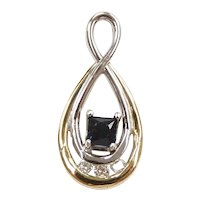 Sapphire and Diamond .45 ctw Infinity Teardrop Pendant 14k Yellow and White Gold Two-Tone