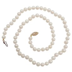 Cultured Pearl Necklace Strand 14k Yellow Gold